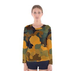 Background For Scrapbooking Or Other Camouflage Patterns Orange And Green Women s Long Sleeve Tee