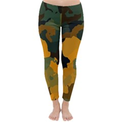 Background For Scrapbooking Or Other Camouflage Patterns Orange And Green Classic Winter Leggings