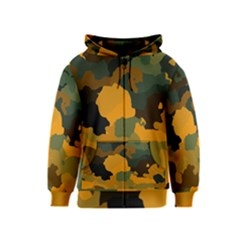 Background For Scrapbooking Or Other Camouflage Patterns Orange And Green Kids  Zipper Hoodie