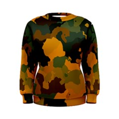 Background For Scrapbooking Or Other Camouflage Patterns Orange And Green Women s Sweatshirt