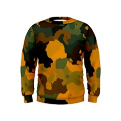 Background For Scrapbooking Or Other Camouflage Patterns Orange And Green Kids  Sweatshirt