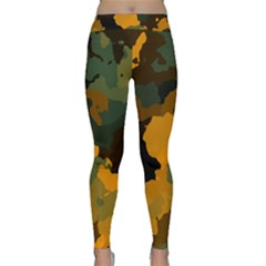 Background For Scrapbooking Or Other Camouflage Patterns Orange And Green Classic Yoga Leggings