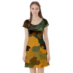 Background For Scrapbooking Or Other Camouflage Patterns Orange And Green Short Sleeve Skater Dress