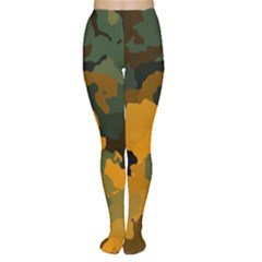 Background For Scrapbooking Or Other Camouflage Patterns Orange And Green Women s Tights