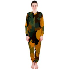 Background For Scrapbooking Or Other Camouflage Patterns Orange And Green Onepiece Jumpsuit (ladies)