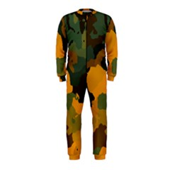 Background For Scrapbooking Or Other Camouflage Patterns Orange And Green Onepiece Jumpsuit (kids)