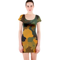 Background For Scrapbooking Or Other Camouflage Patterns Orange And Green Short Sleeve Bodycon Dress