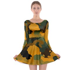 Background For Scrapbooking Or Other Camouflage Patterns Orange And Green Long Sleeve Skater Dress