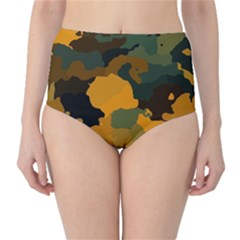 Background For Scrapbooking Or Other Camouflage Patterns Orange And Green High-Waist Bikini Bottoms