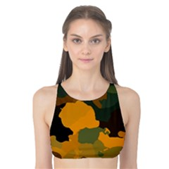 Background For Scrapbooking Or Other Camouflage Patterns Orange And Green Tank Bikini Top