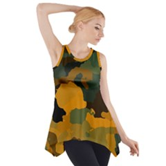 Background For Scrapbooking Or Other Camouflage Patterns Orange And Green Side Drop Tank Tunic