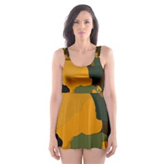 Background For Scrapbooking Or Other Camouflage Patterns Orange And Green Skater Dress Swimsuit