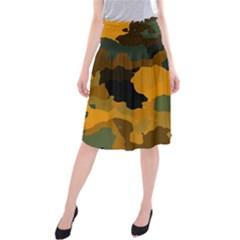 Background For Scrapbooking Or Other Camouflage Patterns Orange And Green Midi Beach Skirt