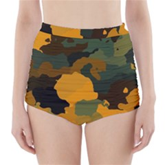 Background For Scrapbooking Or Other Camouflage Patterns Orange And Green High-Waisted Bikini Bottoms