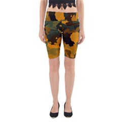 Background For Scrapbooking Or Other Camouflage Patterns Orange And Green Yoga Cropped Leggings