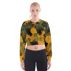 Background For Scrapbooking Or Other Camouflage Patterns Orange And Green Women s Cropped Sweatshirt
