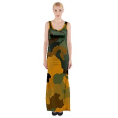 Background For Scrapbooking Or Other Camouflage Patterns Orange And Green Maxi Thigh Split Dress