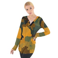 Background For Scrapbooking Or Other Camouflage Patterns Orange And Green Women s Tie Up Tee