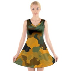 Background For Scrapbooking Or Other Camouflage Patterns Orange And Green V Neck Sleeveless Skater Dress