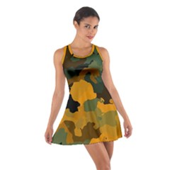 Background For Scrapbooking Or Other Camouflage Patterns Orange And Green Cotton Racerback Dress