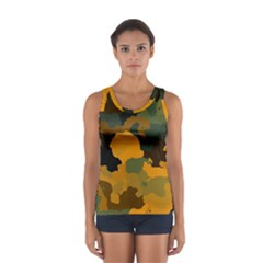 Background For Scrapbooking Or Other Camouflage Patterns Orange And Green Women s Sport Tank Top