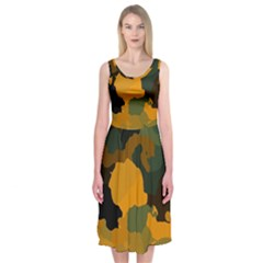 Background For Scrapbooking Or Other Camouflage Patterns Orange And Green Midi Sleeveless Dress