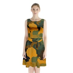 Background For Scrapbooking Or Other Camouflage Patterns Orange And Green Sleeveless Chiffon Waist Tie Dress