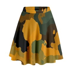 Background For Scrapbooking Or Other Camouflage Patterns Orange And Green High Waist Skirt