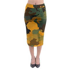 Background For Scrapbooking Or Other Camouflage Patterns Orange And Green Midi Pencil Skirt