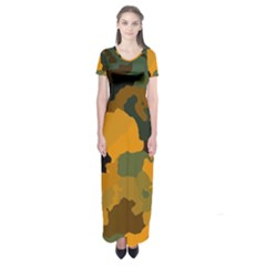 Background For Scrapbooking Or Other Camouflage Patterns Orange And Green Short Sleeve Maxi Dress