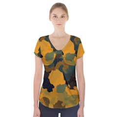 Background For Scrapbooking Or Other Camouflage Patterns Orange And Green Short Sleeve Front Detail Top
