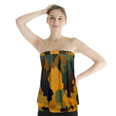 Background For Scrapbooking Or Other Camouflage Patterns Orange And Green Strapless Top