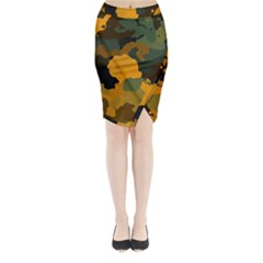 Background For Scrapbooking Or Other Camouflage Patterns Orange And Green Midi Wrap Pencil Skirt