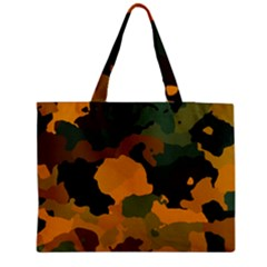 Background For Scrapbooking Or Other Camouflage Patterns Orange And Green Medium Zipper Tote Bag