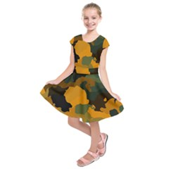 Background For Scrapbooking Or Other Camouflage Patterns Orange And Green Kids  Short Sleeve Dress