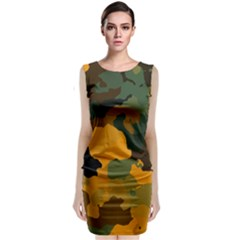 Background For Scrapbooking Or Other Camouflage Patterns Orange And Green Sleeveless Velvet Midi Dress