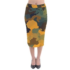 Background For Scrapbooking Or Other Camouflage Patterns Orange And Green Velvet Midi Pencil Skirt