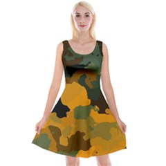 Background For Scrapbooking Or Other Camouflage Patterns Orange And Green Reversible Velvet Sleeveless Dress