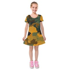 Background For Scrapbooking Or Other Camouflage Patterns Orange And Green Kids  Short Sleeve Velvet Dress
