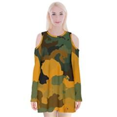 Background For Scrapbooking Or Other Camouflage Patterns Orange And Green Velvet Long Sleeve Shoulder Cutout Dress