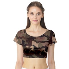 Background For Scrapbooking Or Other Camouflage Patterns Beige And Brown Short Sleeve Crop Top (Tight Fit)