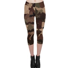 Background For Scrapbooking Or Other Camouflage Patterns Beige And Brown Capri Leggings