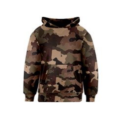 Background For Scrapbooking Or Other Camouflage Patterns Beige And Brown Kids  Pullover Hoodie