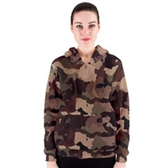 Background For Scrapbooking Or Other Camouflage Patterns Beige And Brown Women s Zipper Hoodie