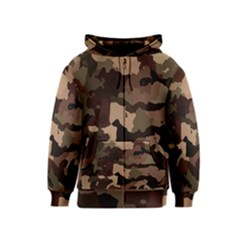 Background For Scrapbooking Or Other Camouflage Patterns Beige And Brown Kids  Zipper Hoodie