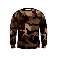 Background For Scrapbooking Or Other Camouflage Patterns Beige And Brown Kids  Sweatshirt