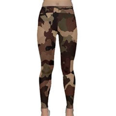Background For Scrapbooking Or Other Camouflage Patterns Beige And Brown Classic Yoga Leggings