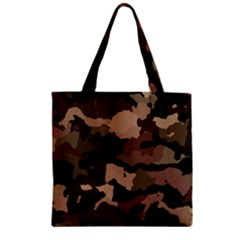Background For Scrapbooking Or Other Camouflage Patterns Beige And Brown Zipper Grocery Tote Bag