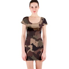 Background For Scrapbooking Or Other Camouflage Patterns Beige And Brown Short Sleeve Bodycon Dress