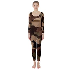 Background For Scrapbooking Or Other Camouflage Patterns Beige And Brown Long Sleeve Catsuit